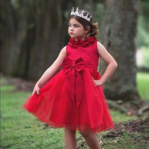 Other - TODDLER DRESS + CRIMSON + BOW ACCENT